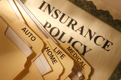 folder with insurance policy text