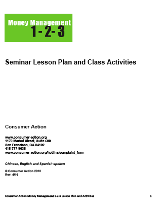 Money Management 1-2-3: Seminar Lesson Plan and Class Activities