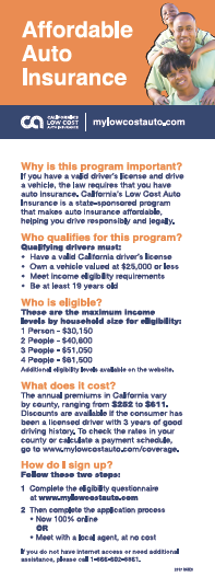 California's Low Cost Automobile Insurance Program Cover