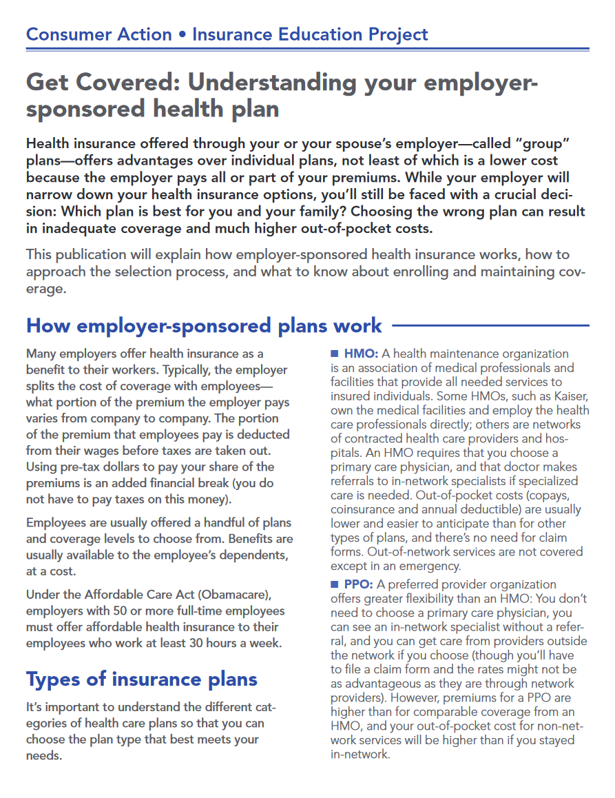 Get Covered: Understanding your employer-sponsored health plan Cover
