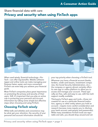 Privacy and security when using FinTech apps Cover