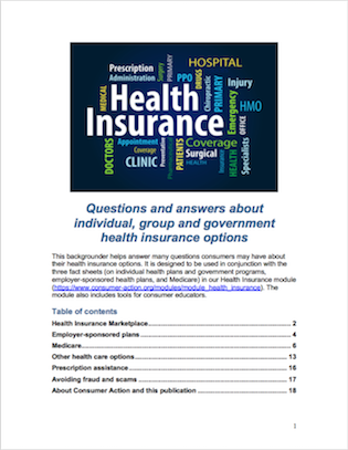 Questions and answers about individual, group and government health insurance options