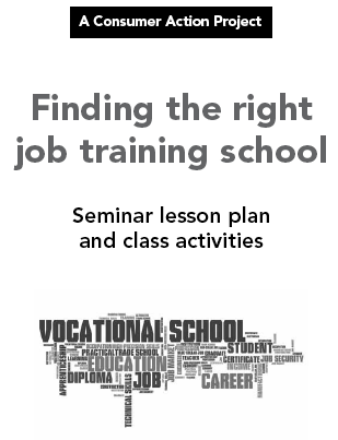 Finding the right job training school - Seminar lesson plan and class activities Cover