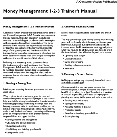 Money Management 1-2-3: Trainer's Manual
