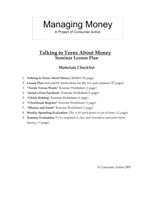 Talking to Teens about Money - Seminar Lesson Plan Packet (English)