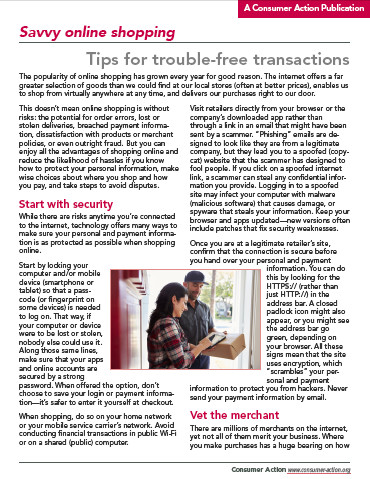 Savvy online shopping: Tips for trouble-free transactions Cover