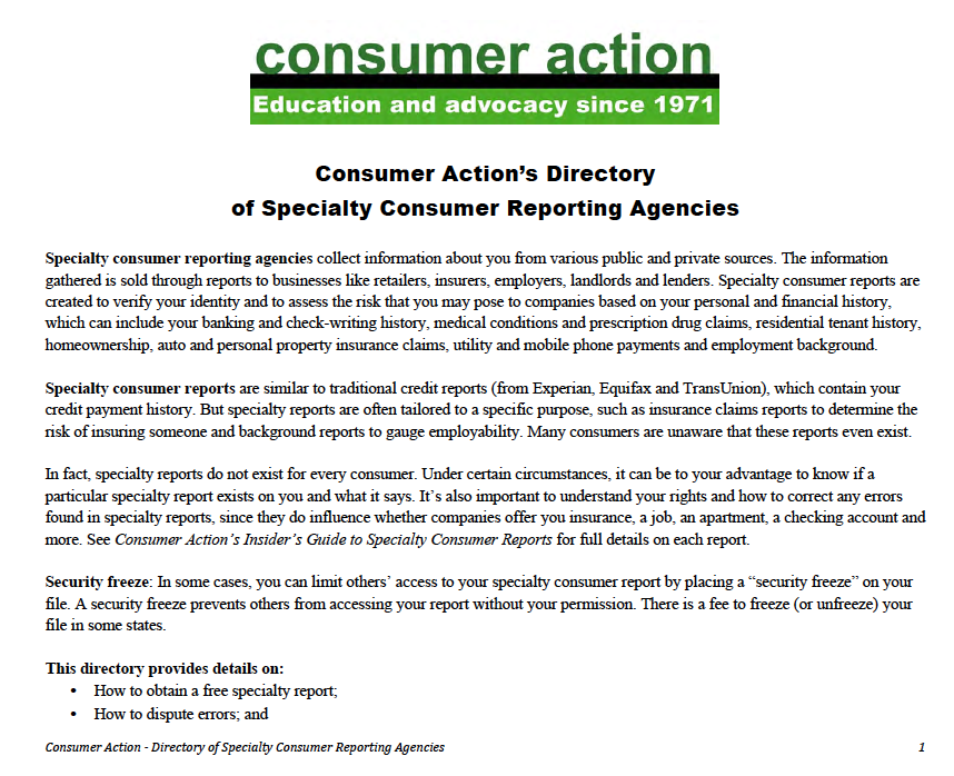 Consumer Action's Directory of Specialty Consumer Reporting Agencies