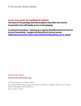 Consumer Action - Low-income Broadband Plans