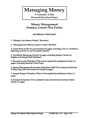 Manage Your Money Wisely - Seminar Lesson Plan (English)