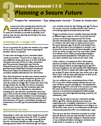 Money Management 1-2-3: THREE: Planning a Secure Future