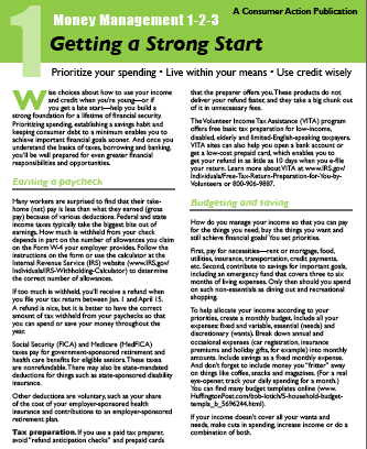 Consumer Action - Money Management 1-2-3: ONE: Getting a Strong Start