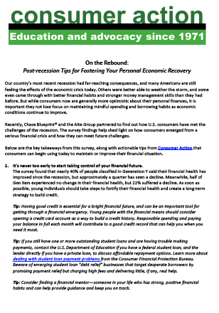 On the Rebound: Post-recession Tips for Fostering Your Personal Economic Recovery
