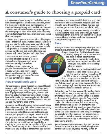AConsumer's Guide to Choosing a Prepaid Card