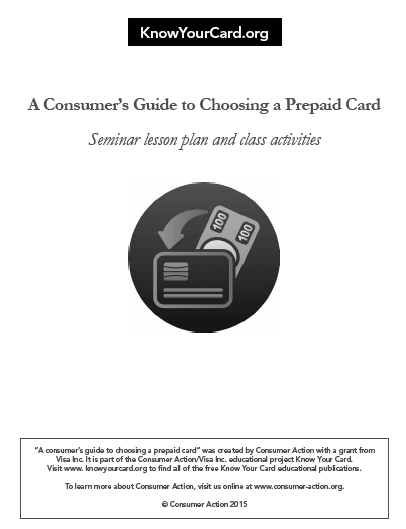 Choosing a Prepaid Card - Seminar Lesson Plan and Class Activities