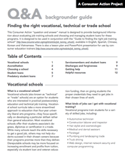 Finding the right vocational, technical or trade school - Backgrounder Cover