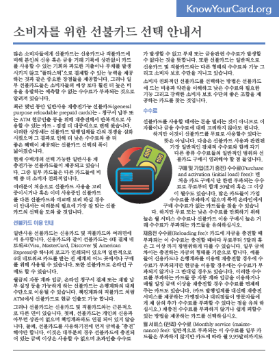 A consumer's guide to choosing a prepaid card (Korean)