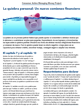 Personal Bankruptcy: Your financial fresh start (Spanish) Cover
