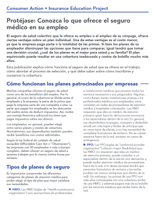 Get Covered: Understanding your employer-sponsored health plan (Spanish) Cover