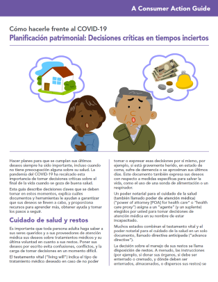 Estate planning: Critical decisions for uncertain times (Spanish) Cover