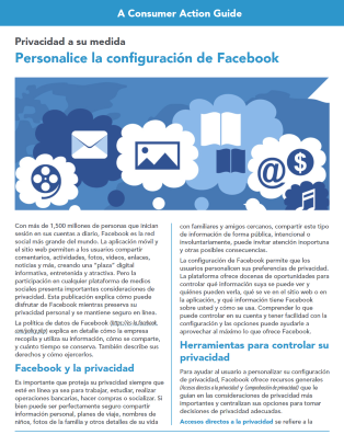 Personalized privacy: Customizing your Facebook settings (Spanish) Cover