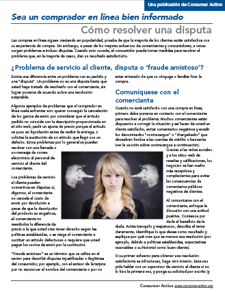 Savvy online shopping: How to resolve a dispute (Spanish) Cover