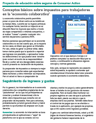 Tax Basics for Earners in the 'Sharing Economy' (Spanish) Cover