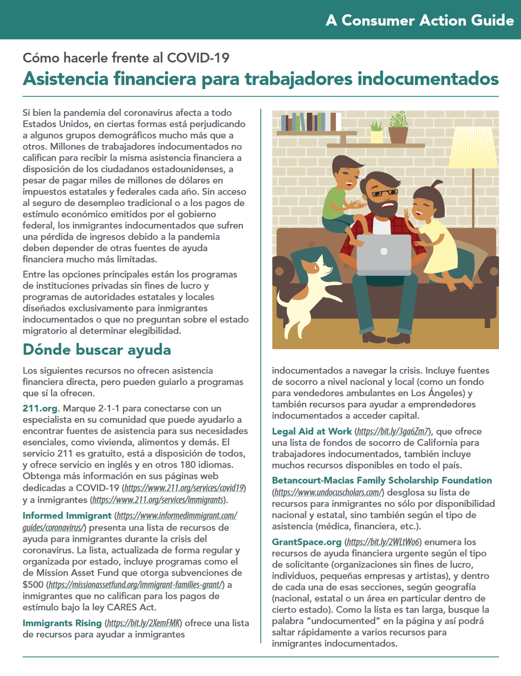 Financial assistance for undocumented workers (Spanish) Cover