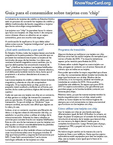 A Consumer's Guide to 'Chip' Cards (Spanish)