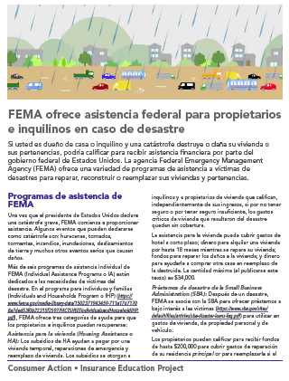 FEMA spells federal disaster relief for homeowners and renters (Spanish) Cover