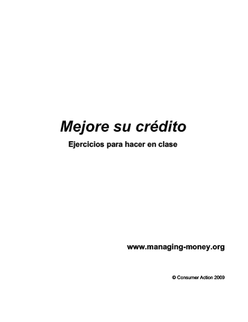 Rebuilding Good Credit - Class activities (Spanish)