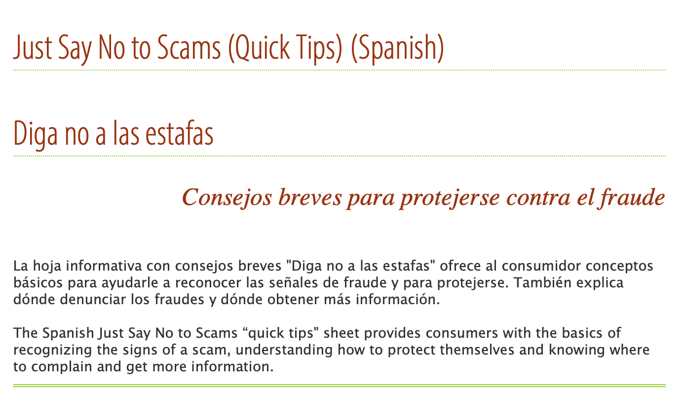 Just Say No to Scams (Quick Tips) (Spanish)