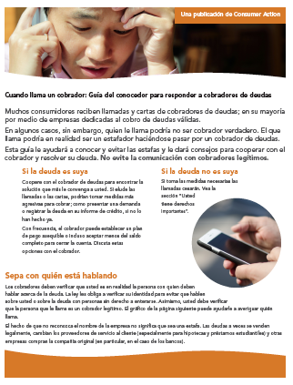When a collector calls: An insider's guide to responding to debt collectors (Spanish) Cover