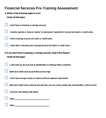 Financial Services Pre-Training Assessment